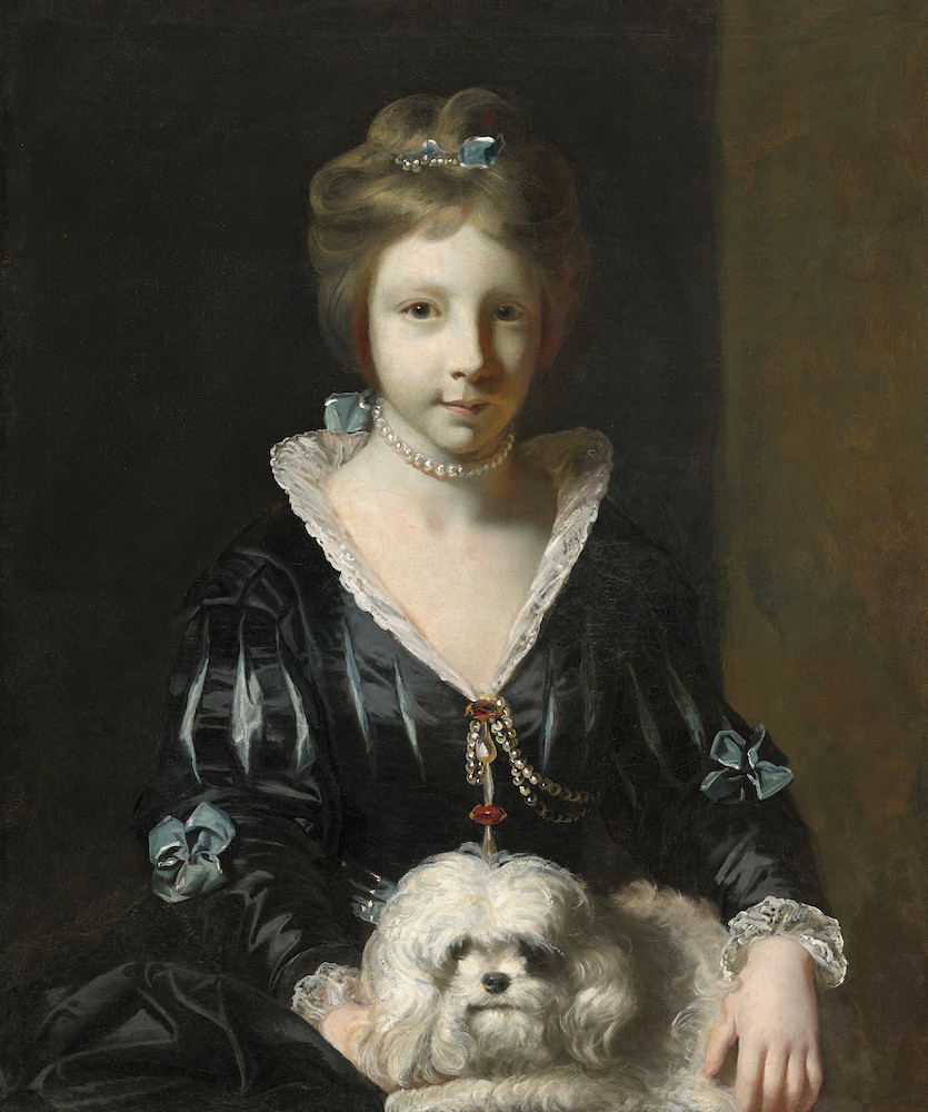 Painting of a girl and her dog by Sir Joshua Reynolds