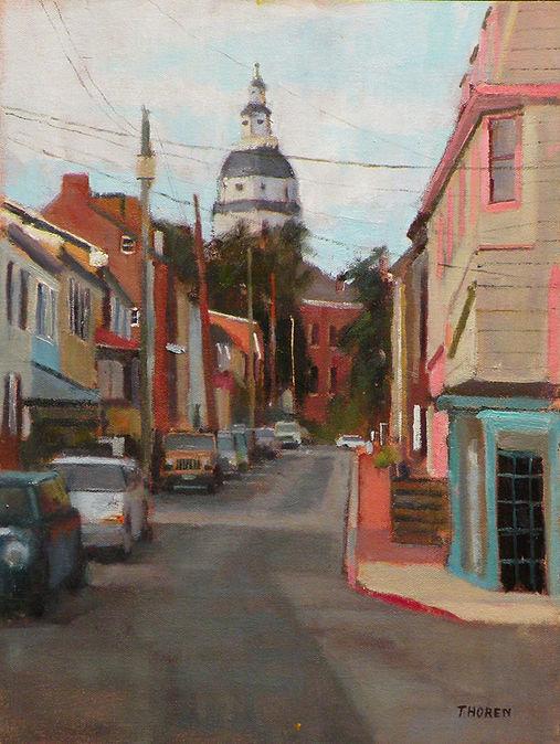 Looking Up Cornhill Street by Robert Thoren