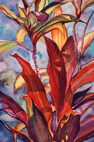 Fiery Croton by Carolyn Gawarecki