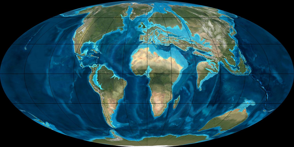A Föld szárazulatainak elhelyezkedése az eocén korai szakaszában, kb. 50 millió évvel ezelőtt (forrás: geologypage.com - © Ron Blakey, NAU Geology)