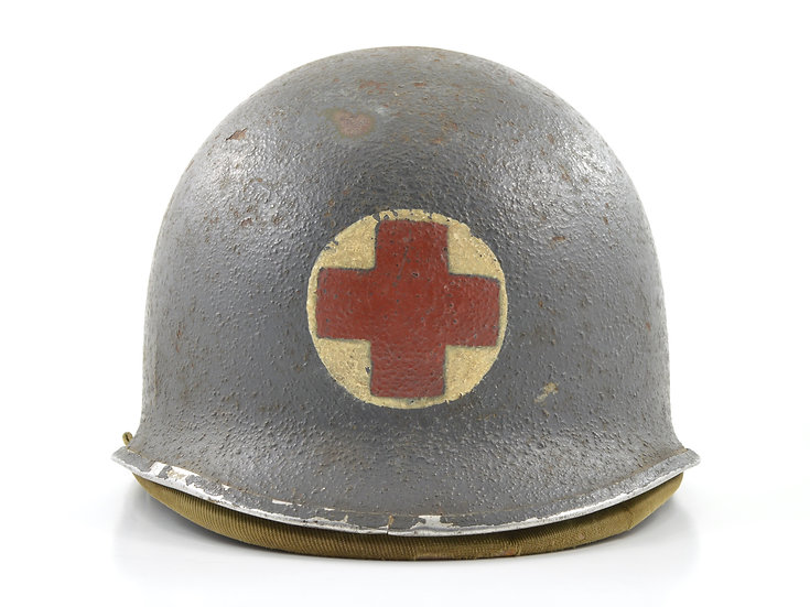 Early-WWII U.S.N. Corpsman's Painted Fixed Loop M1 Helmet & Hawley Liner Set