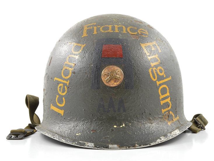 WWII First Army Antiaircraft Artillery Souvenir Fixed Loop M1 Helmet & Liner Set