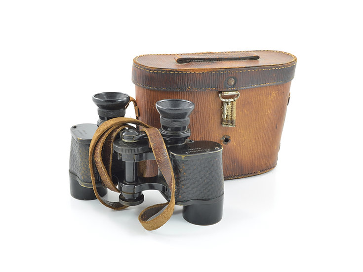 Original WW1 German Lumar 8x27 G. Rodenstock, Munchen Binoculars With Leather Case For Sale