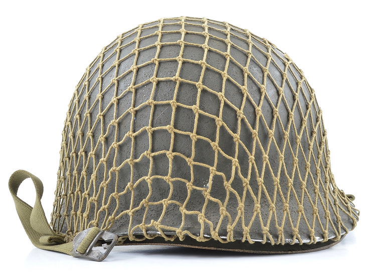 WWII Camouflaged Fixed Loop M1 Helmet & Rayon Westinghouse Liner (1942 Set)