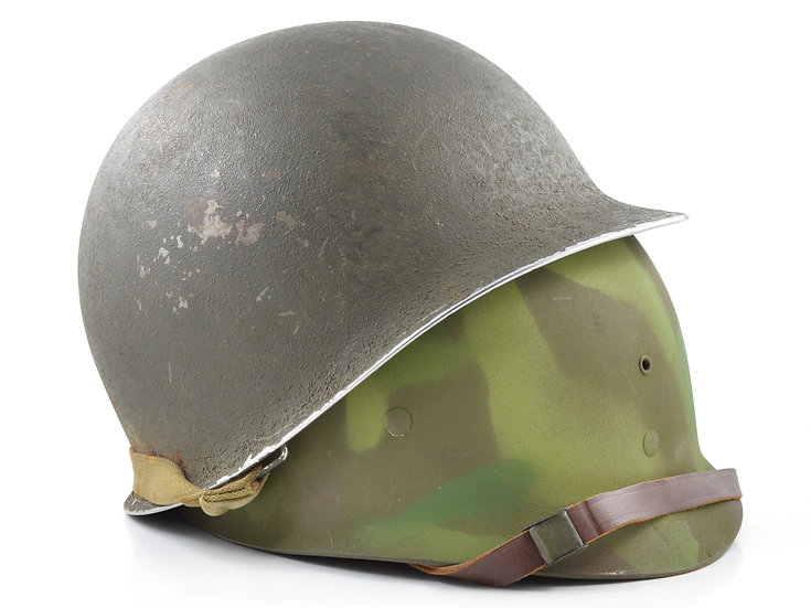 WWII M1 Helmet & Jungle Camo Westinghouse Liner (69th Infantry Division Veteran)