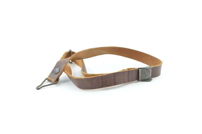 WWII Leather Liner Strap With Green Steel Buckle