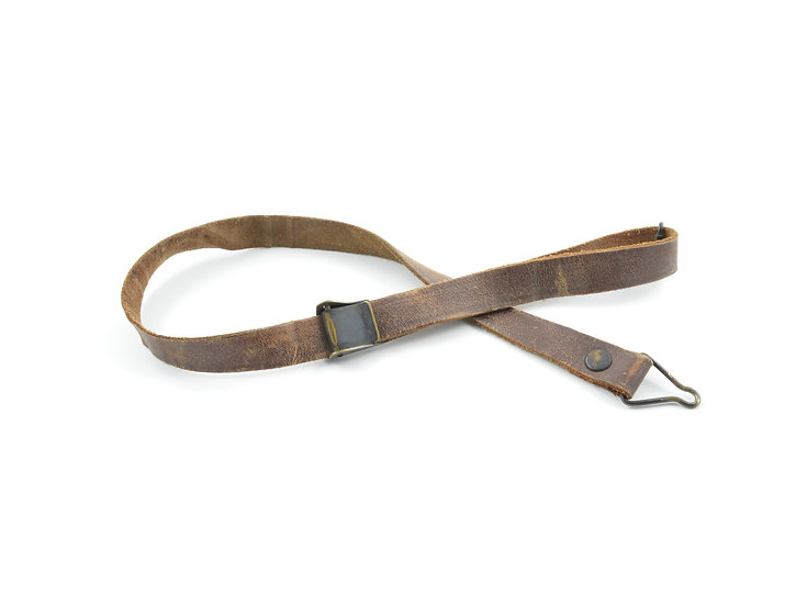 WWII Leather Liner Strap With Black Brass Buckle