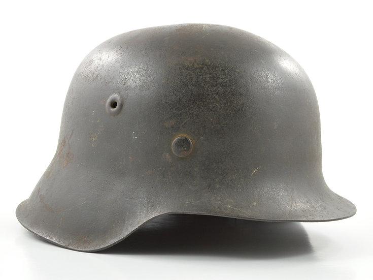Original Late-WW2 German No Decal Heer/Waffen SS M42 Helmet & Liner Set (EF68) For Sale