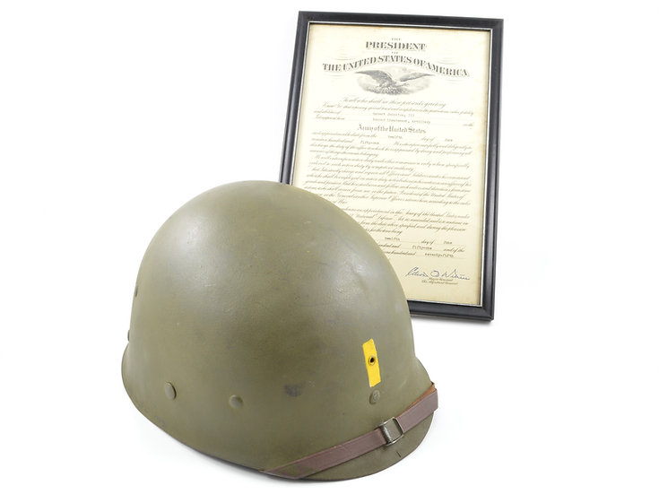 Late-WWII Second Lieutenant's Inland/Firestone M1 Helmet Liner (Named Grouping)