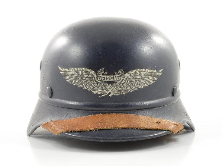 Original WW2 German M40 Beaded Luftschutz Helmet & Liner Set (Q66) For Sale