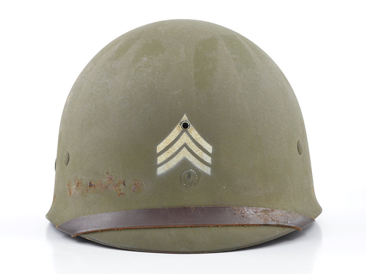 Late-WWII Sergeant's Seaman Paper Co. M1 Helmet Liner (Complete)