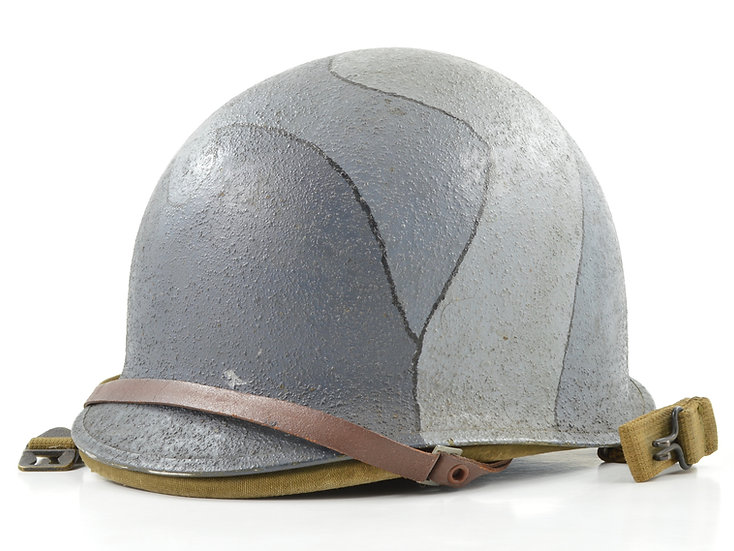 Early-WWII ID'd Navy Camo-Painted Fixed Loop M1 Helmet & General Fibre Co. Liner