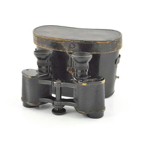 Original WW2 German U.F. Nr. 18727 D.F.03. 6 Fach Dienstglas Trieder Binocle C. P. Goerz Binoculars & Leather Case For Sale
