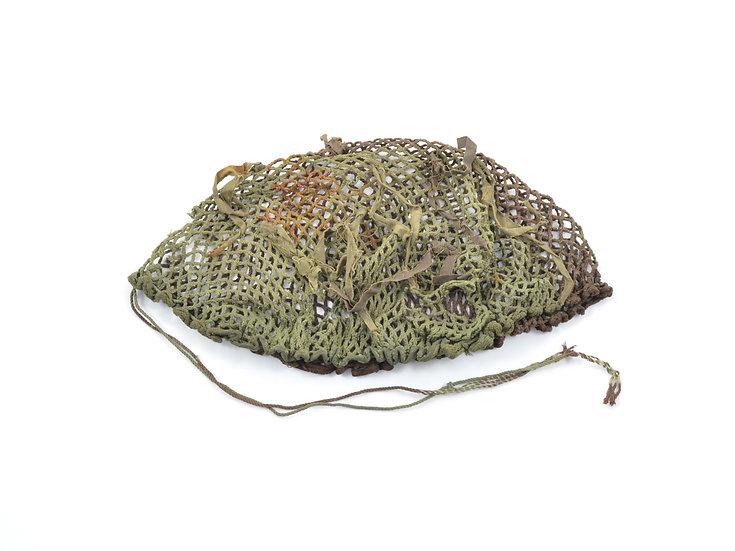 Original Mid-WW2 Canadian Two-Tone Camouflage Helmet Net With Original Scrim For Sale