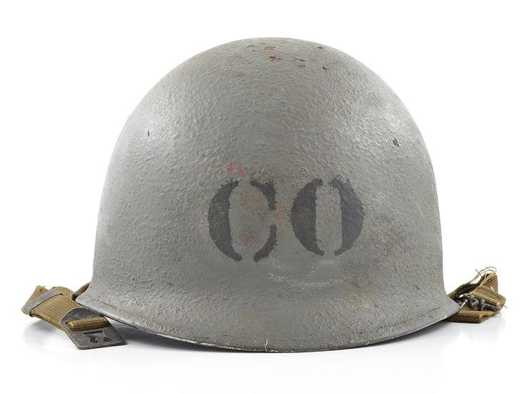 "WWII Navy Painted Swivel Loop Schlueter ""Commanding Officer"" Helmet Shell (1944)"