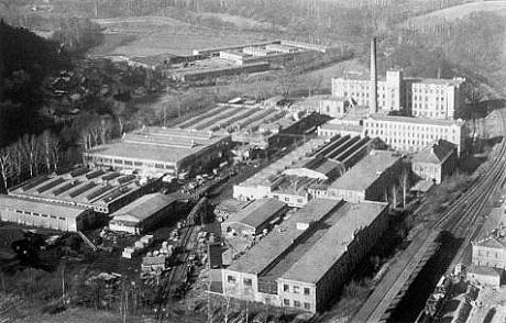 The Spreewerk Werk Grottau factory, with its slave labor barracks in the upper left area of the photo, located in occupied Czechoslovakia.