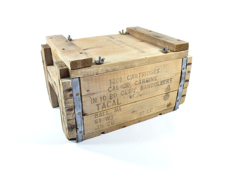 Korean War Cal. .30 M1 Carbine Wooden Ammunition Crate (Empty)