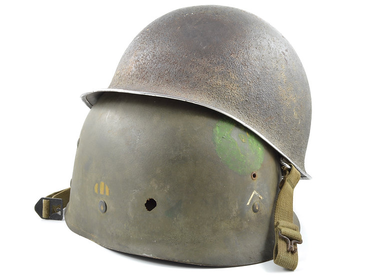 "WWII 87th ""Golden Acorn"" Division Swivel Loop M1 Helmet & Firestone Liner Set"