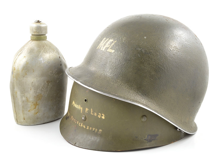 WWII 45th I.D. Anzio Medic's Fixed Loop M1 Helmet, Liner, & Canteen Grouping