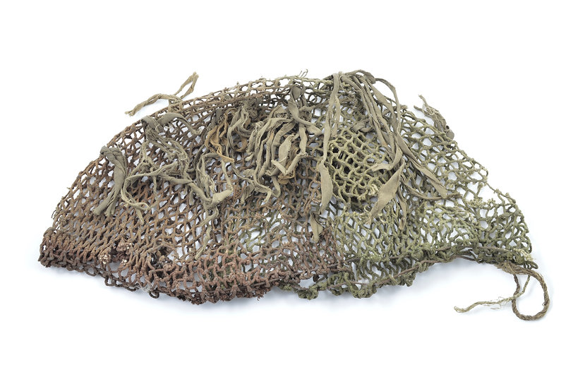 Mid-WWII Canadian Two-Tone Camouflage Helmet Net With Original Scrim