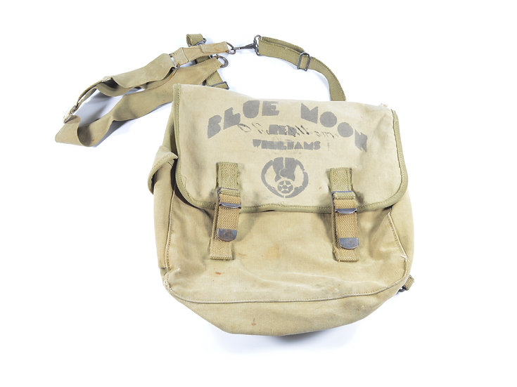 """WWII 8th Air Force """"Blue Moon"""" M1936 Musette Bag & General Purpose Strap"""