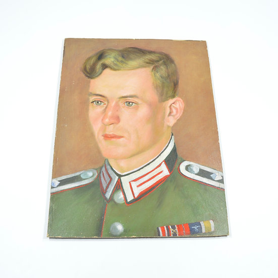 WWII German Oil Painting of Artillery Officer