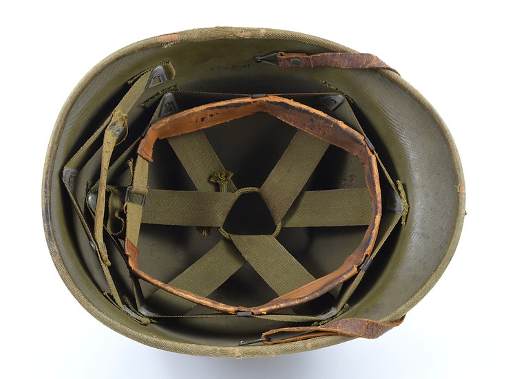 WWII Hawley M1 Helmet Liner With Complete Accessories (Khaki Suspension)