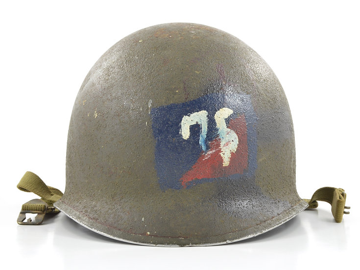 Original WW2 U.S. 75th Infantry Division Painted Fixed Loop McCord M1 Helmet Shell (April 1942) For Sale