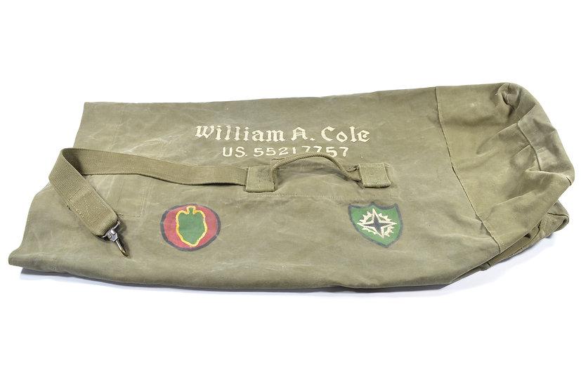 Korean War OD#7 Duffel Bag (ID'd to 24th Infantry Division Veteran)