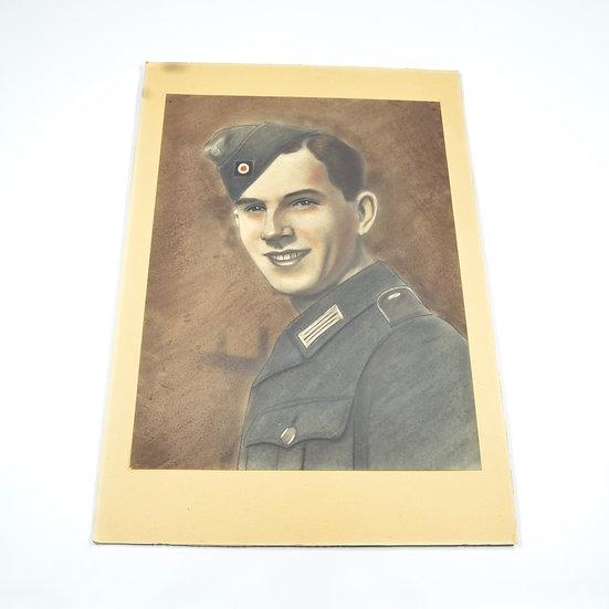 WWII German Oil Pastel of Heer Infantryman