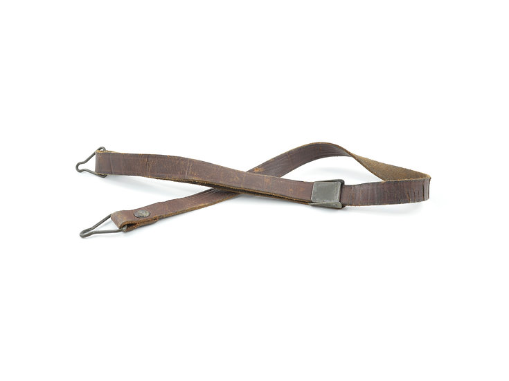 WWII Leather Liner Strap With Flat Green Steel Buckle