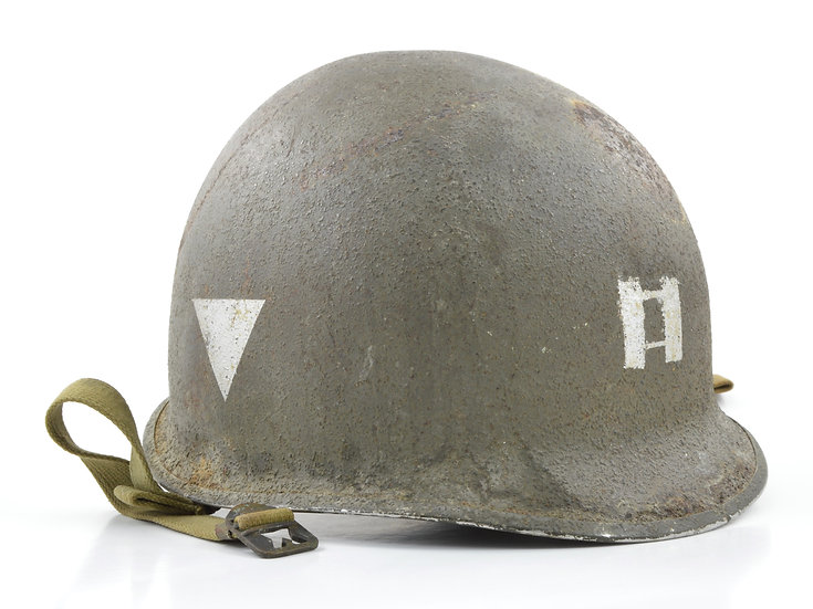 Original WW2 Captain's Fixed Loop McCord M1 Helmet Shell (March 1942) For Sale