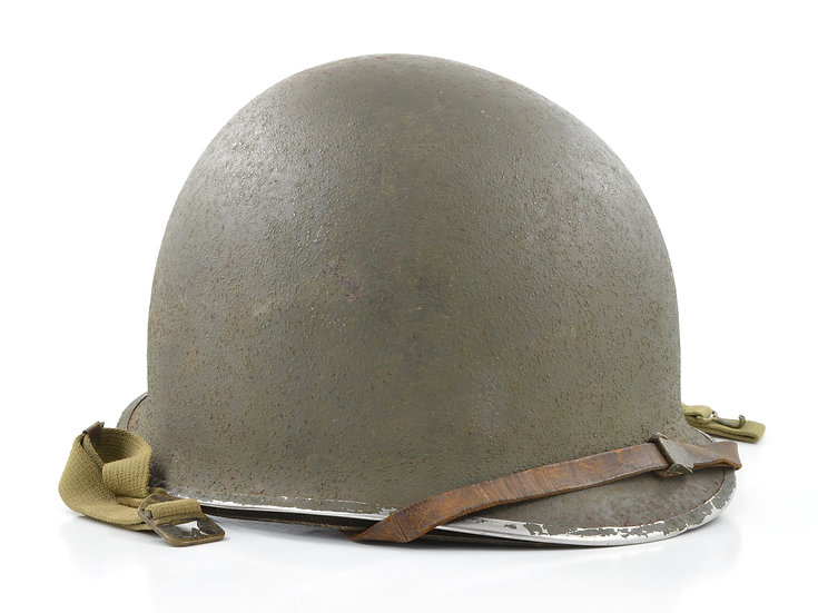Early-WWII Fixed Loop M1 Helmet & Rayon Westinghouse Liner (ID'd Set)