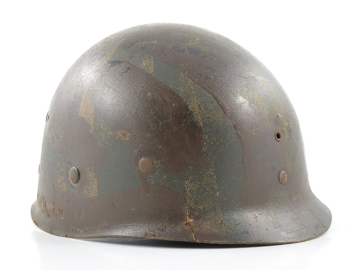 WWII Westinghouse M1 Helmet Liner (Field-Applied Camouflage)