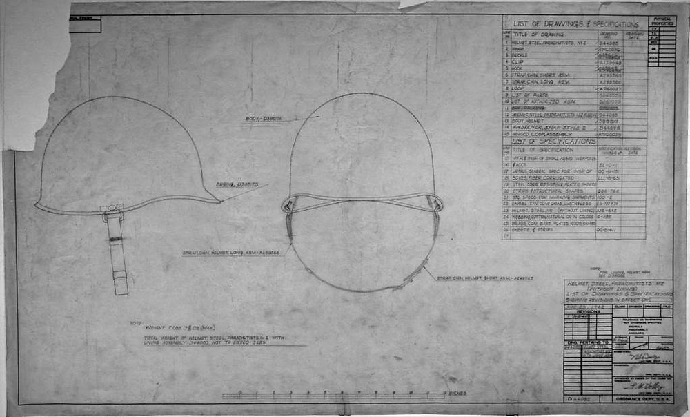 M1 helmet drawing and specifications.