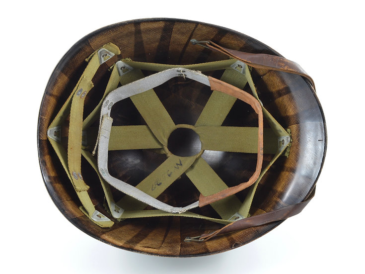Original Early-WW2 Inland M1 Helmet Liner W/ Transitional Suspension (ID'd) For Sale