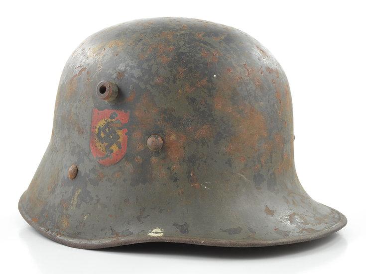 Original WW2 Transitional Austrian M17 Double Decal Ordnungspolizei Helmet Set For Sale