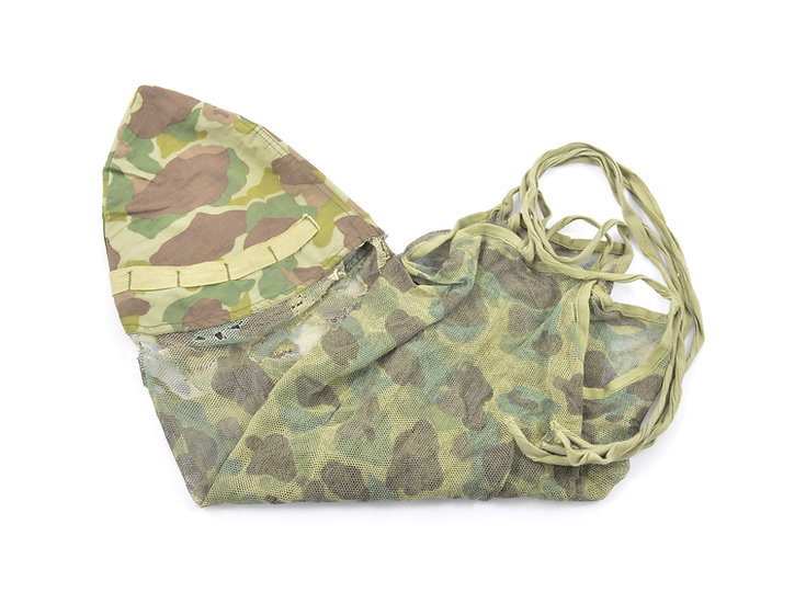 Original Early-WW2 USMC Camouflage Mosquito Net Helmet Cover (Type A) For Sale