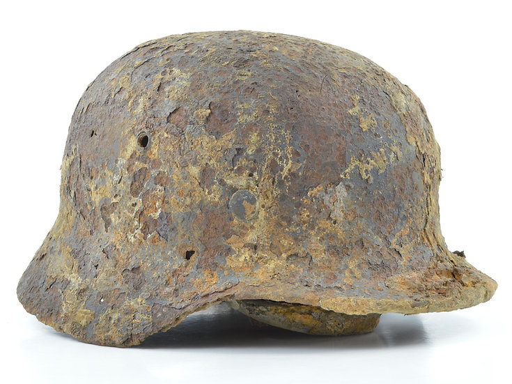 WWII German Relic M35 Double Decal Waffen SS Helmet Set With Camo Cover Remnants