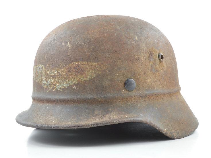 WWII German M35 Beaded Luftschutz Helmet Shell (EF64)