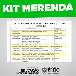 Calendário de distribuição do Kit Merenda
