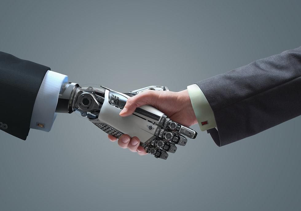 Human and robot handshake business relat