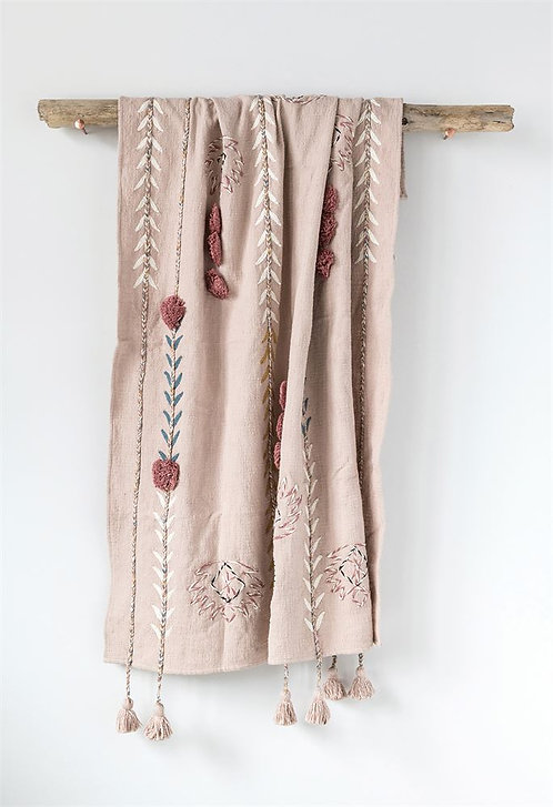 Pink Embroidered Throw
