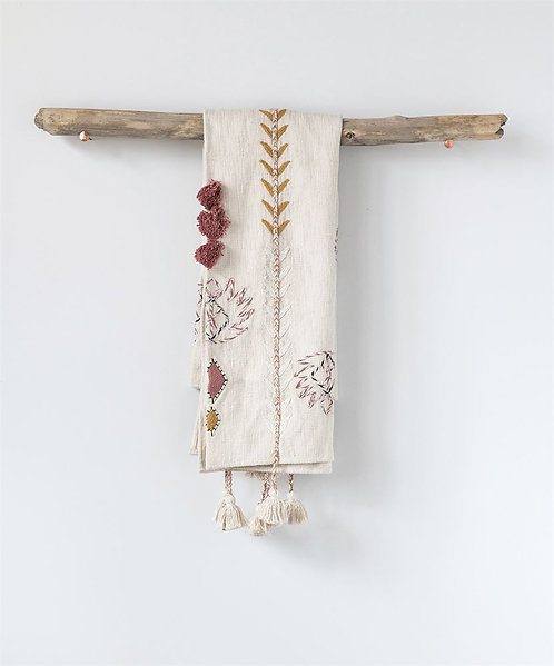 Cream Embroidered Throw