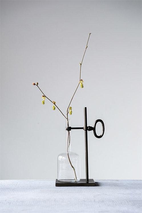 Glass Bottle Vase on Metal Stand