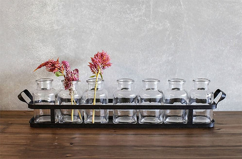 Metal Tray with 8 Bud Vases