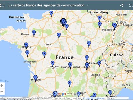 La carte de France des agences de communication