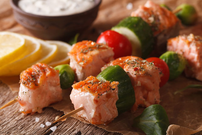 Salmon and Zucchini Skewers with Cucumber Yoghurt Dip Healthy Recipe