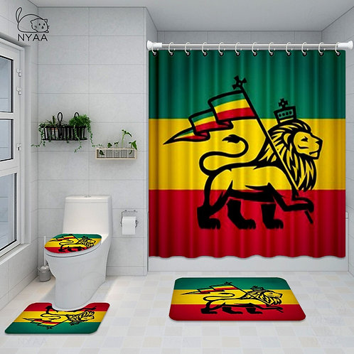 Bathroom Set the Lion of Judah - Shower Curtain- Toilet Cover- Mat Non Slip Rug