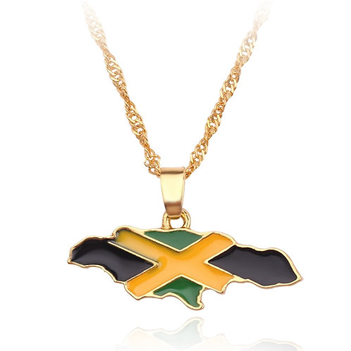Jamaica National Map Flag Pendant Necklaces Gold Color Jewelry